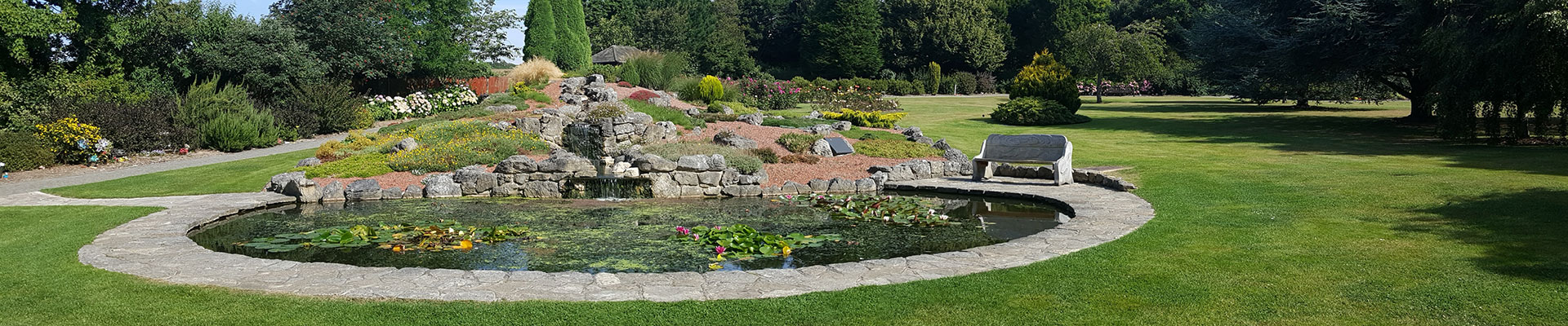 Photograph of the pond in the crematorium gardens