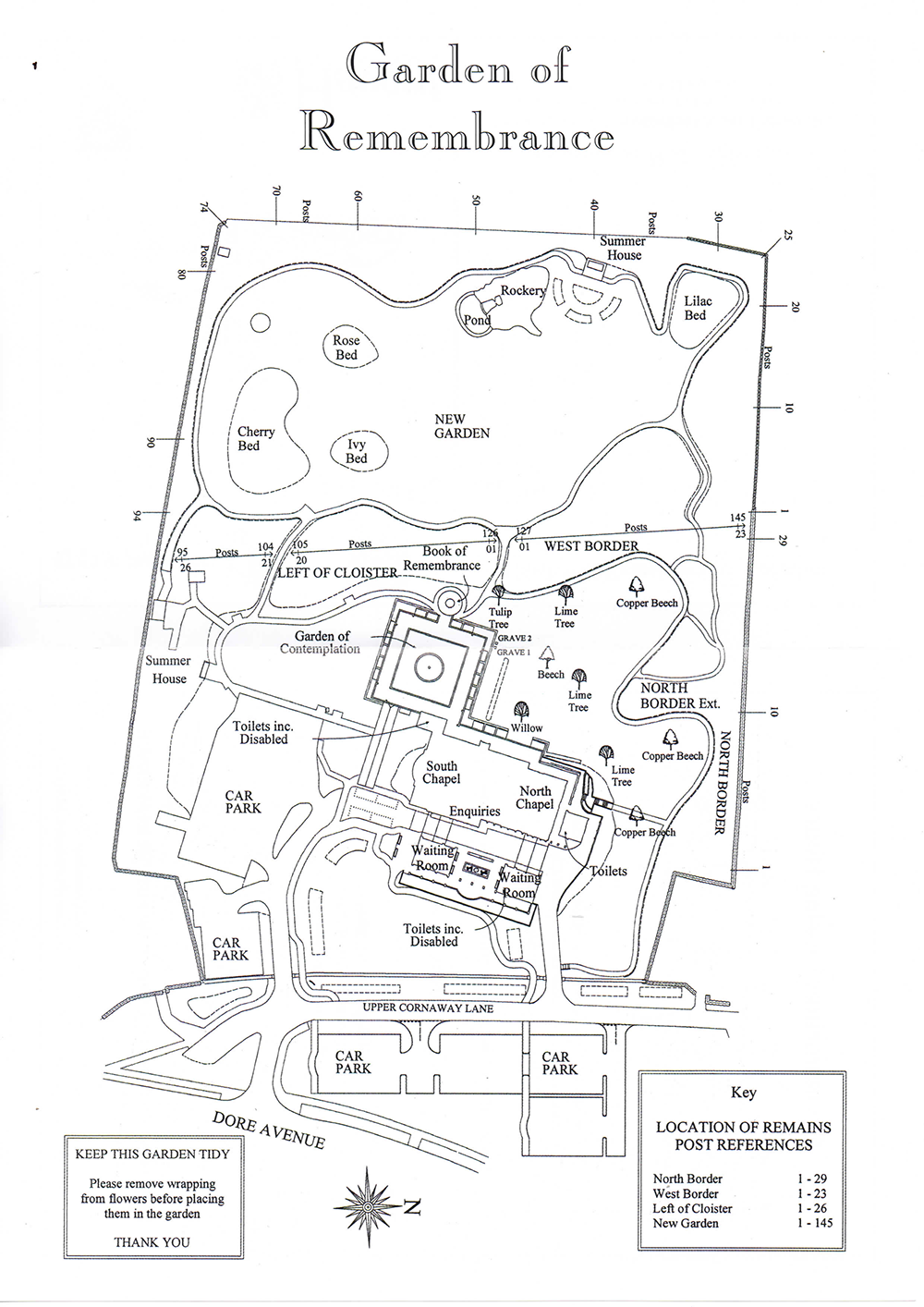 A line drawing map showing the layout of the Garden of Remembrance