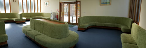 The seating area in the waiting room